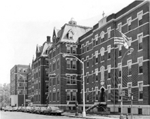 Saint Michael's Hospital on High Street in Newark as it appeared in the mid-1960's. It began as a 13-bed facility in a converted private residence on Bleeker Street in Newark in 1867 (below). Today, Saint Michael's Medical Center is located on Martin Luther King Boulevard in Newark.